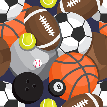 Seamless pattern of balls. Football, volleyball, besketbol, golf, tennis, bowling, rugby, snooker
