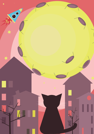 window sill: Cat sits on a window sill. Cat looks at the moon Illustration