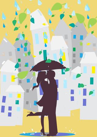 innamorati che si baciano: Amanti baciare sotto un ombrello. La pioggia in città