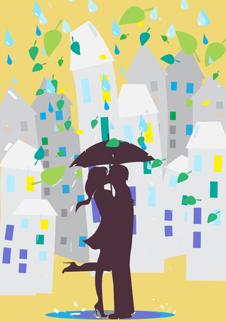 lovers kissing: Lovers kissing under an umbrella. Rain in the city Illustration
