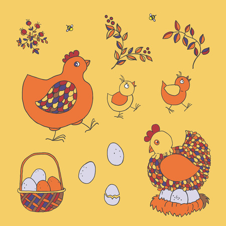 chicken coop: Farm set: chicken, chicks, basket with eggs, nest, twigs with leaves