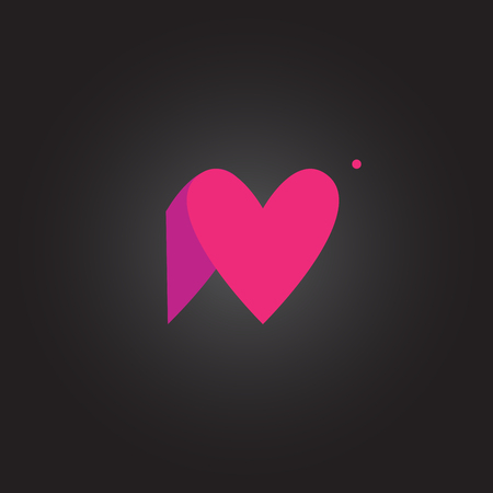 ide: Letter N. Letter rounded character in the hearts of ide.  Icon   lilac  pink on a dark background