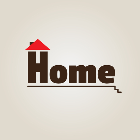 roof profile: House with red roof. Icon vector