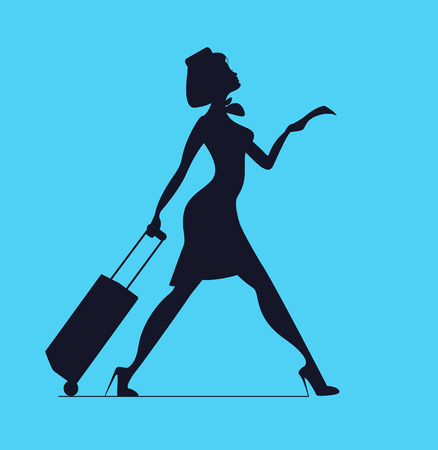 stewardess: Stewardess with luggage. Stewardess holding tickets. Woman with baggage and ticket. Time to Travel Illustration