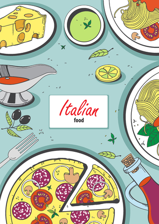 melted cheese: Vector cooking banner template with hand drawn objects on italian food theme: pizza, pasta, tomato, olive oil, olives, cheese, lemon, sauce. Ethnic cuisine concept. Italian cuisine hand drawn objects.Vector food illustration for kitchen and cafe