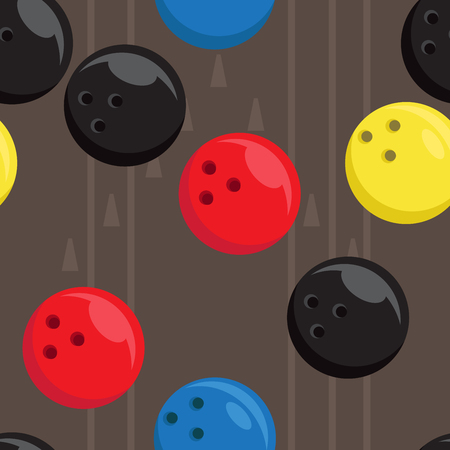 bowling alley: Seamless texture with bowling balls and bowling alley. Pattern on the sports theme