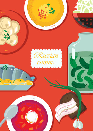 borscht: Set Russian national food. Food illustration russian cuisine with pancake, dumplings, borscht, herring, sauerkraut, pickles, bacon Illustration
