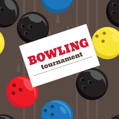 alley: Bowling tournament poster vector template. Seamless texture with bowling balls and bowling alley