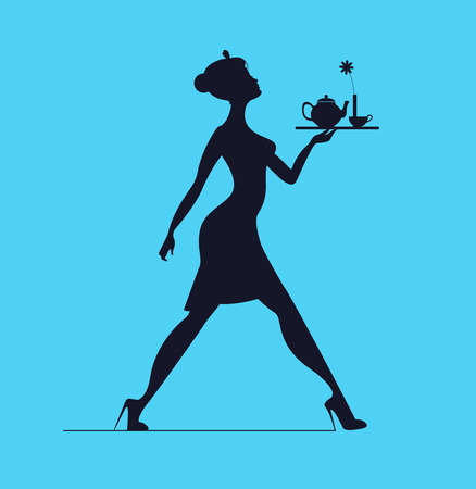 Waitress silhouette on a blue background. Slender girl carrying a tray with tea Vettoriali