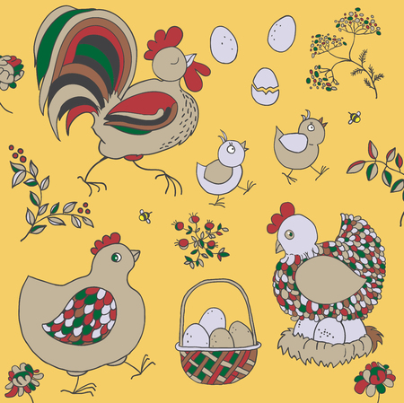Farm set: chicken, rooster, chicks, basket with eggs, nest, twigs with leaves