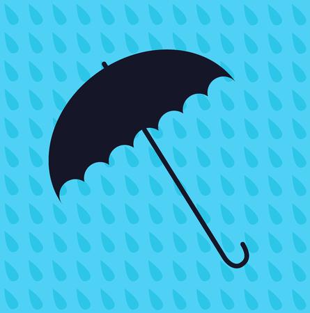 resistant: Umbrella Icon Vector. Seamless pattern of raindrops