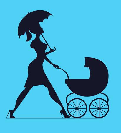 Chůva. Žena s dětským kočárkem. Vektorová silueta Ilustrace
