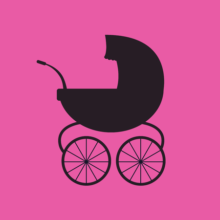 Baby carriage. Vector black silhouette Illustration