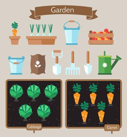 Gemüsegarten Planer flach design.Beds mit Kohl, Karotten. Gartenwerkzeuge. Garten Setikonen