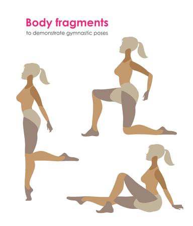 Fragmente des Körpers für gymnastische poses.Vector Silhouette einer Frau zeigt, die praktiziert