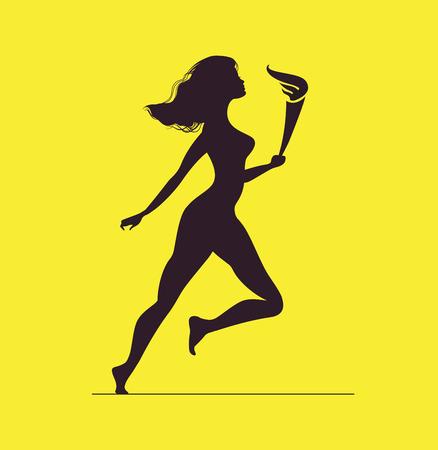 icono deportes: Atleta con la llama. Silueta de la mujer con la antorcha