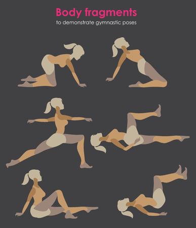 Fragmente des Körpers für gymnastische poses.Vector Silhouette einer Frau zeigt, die praktiziert Vektorgrafik