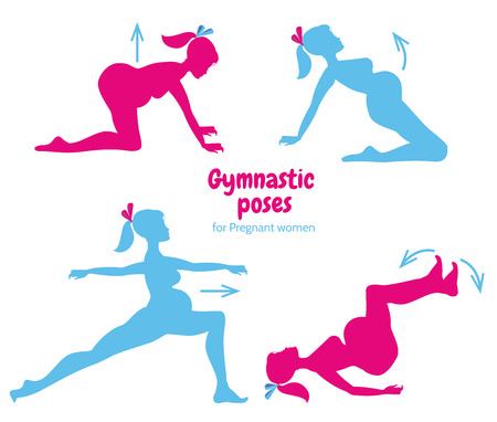 motherhood: Gymnastic poses for pregnant women. Future mother, healthy lifestyle exercises set, motherhood and fitness. Pilates poses