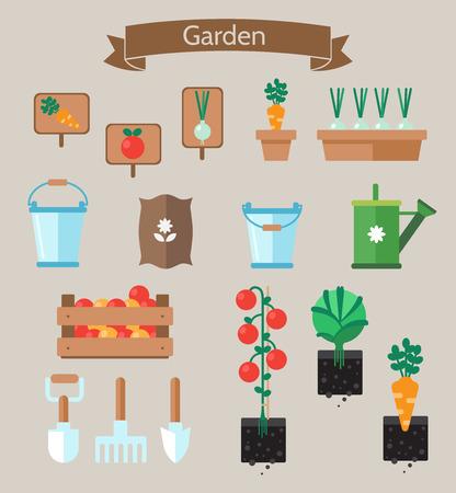 Gemüsegarten Planer flach design.Beds mit Kohl, Karotten. Gartenwerkzeuge. Garten Setikonen Vektorgrafik
