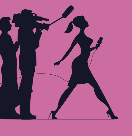 Silhouette of women with microphone. Profession: TV reporter, Journalist. Silhouette of women on a pink background Illustration