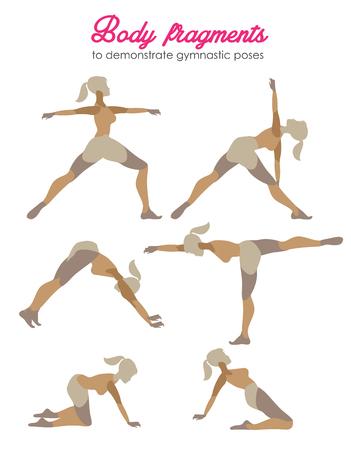 Vector pilates illustration. Pilates poses.Female exercising silhouette Illustration