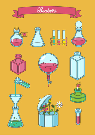 medical preparation: Set of  apothecary and medical beakers, laboratory flasks Illustration