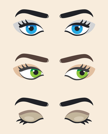 looking straight: Eye vector at different positions. Beautiful female eye. Eyes looking straight, right , eyes closed. Illustration
