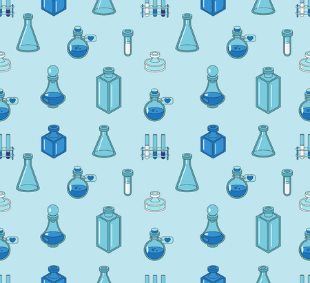 a substance vial: Seamless color pattern with apothecary and medical beakers, laboratory flasks Illustration
