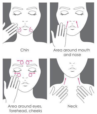 woman washing face: How to apply cream to the face and neck. Design packaging. Instructions
