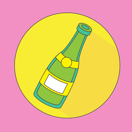 Champagne Icon. Bottle of champagne on a yellow background Illustration