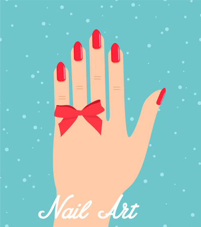 french manicure: Woman hand with red fingernails. Gift certificate for a nail salon