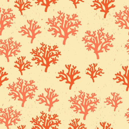 polyp: Seamless pattern of red, orang, yellow corals on a white background Illustration