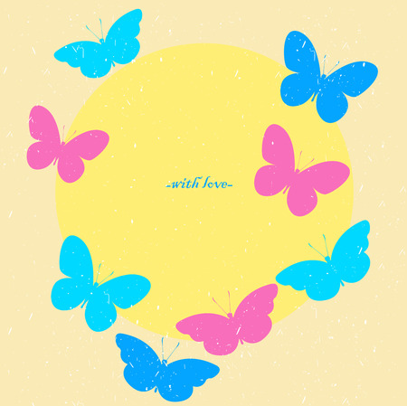 Colorful butterfly with a round label. Сard Illustration