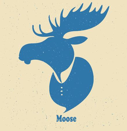 wild venison: Moose head.Vector silhouette on a light background