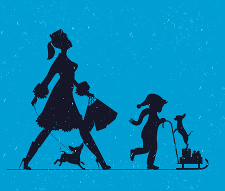 Woman with with a child and dogs. Mother doing shopping and walks with child. Vector silhouette Illustration