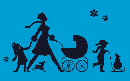 Woman with children and dogs. Super mother walks with children. Vector silhouette Illustration