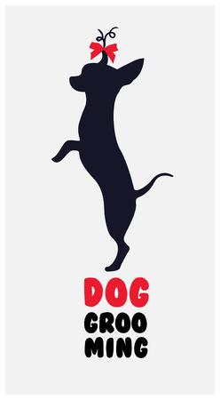 canine: dog hair salon. Dog beauty salon . Pet grooming salon. Vector dog silhouette Illustration