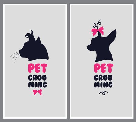 dog hair salon. Pet beauty salon . Pet grooming salon. Vector dog silhouette Illustration