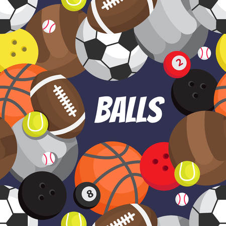 Seamless pattern of balls. Football, volleyball, basketball, golf, tennis, bowling, rugby, snooker