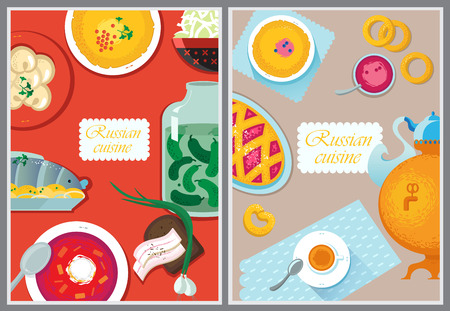 borscht: Set Russian national food. Food illustration russian cuisine with pancake, dumplings, borscht, herring, sauerkraut, pickles, bacon, samovar, cup, napkin, cake, jam, pancakes, muffins Illustration
