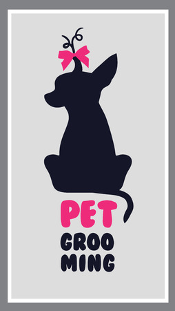 grooming: dog hair salon. Dog beauty salon . Pet grooming salon. Vector dog silhouette Illustration