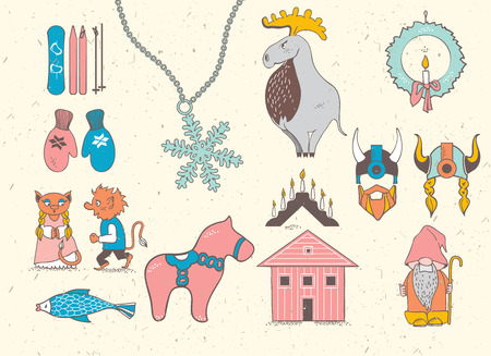Set of attributes of the Scandinavian countries.Set with design elements of symbols of Sweden, Denmark, Iceland , Norway: moose, gnome, snowflake, skiing, snowboard, viking helmet, wooden house, mittens, red wooden horse, salmon, candle , troll , Christma