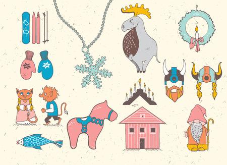 Set van attributen van de Scandinavische countries.Set met design elementen van de symbolen van Zweden, Denemarken, IJsland, Noorwegen: elanden, gnoom, sneeuwvlok, ski, snowboard, viking helm, houten huis, wanten, rode houten paard, zalm, kaars, troll , Christma Stock Illustratie