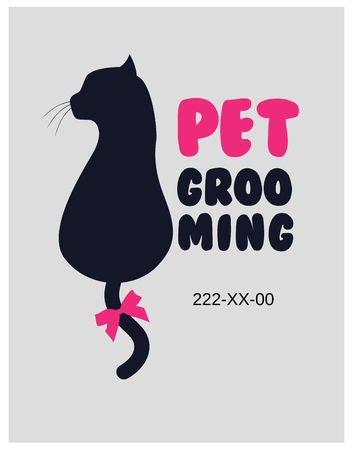 Pet beauty salon . Pet grooming salon. Vector cat silhouette