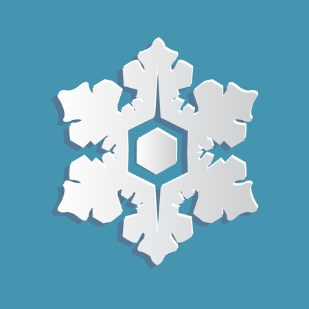 snow chain: Paper snowflake on a blue background. Paper art style