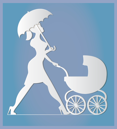 supermom: Nanny. Woman walking with a baby carriage. Paper art and craft style