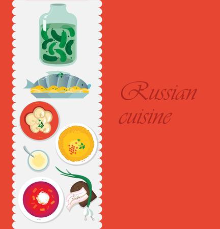 Russische keuken. Sjabloon voor het menu met kookgerei en foo