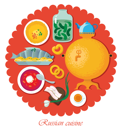 borscht: Set Russian national food. Illustration cuisine
