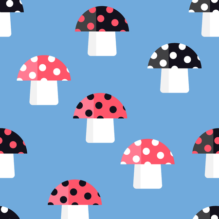 edibles: Seamless pattern of the fabulous fungi. Cartoon amanita. Illustration