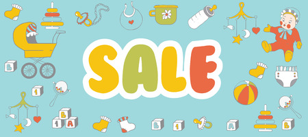 Selling childrens products. Sale. Poster template for baby shop